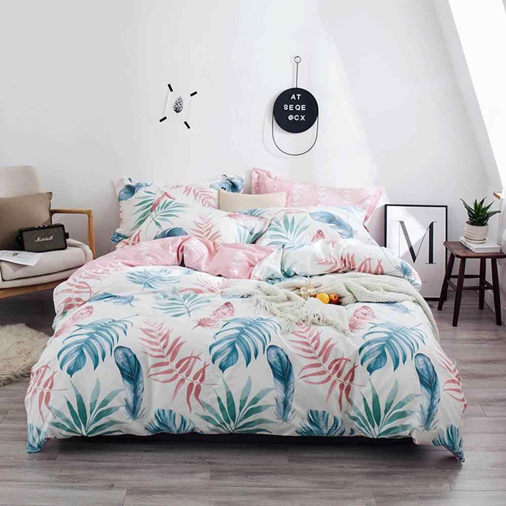 Svetanya Cotton Bedding Set Leaves printing flat sheet pillowcase Duvet Cover Linen sets