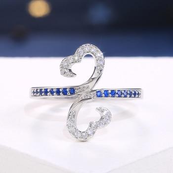 Huitan Romantic Women Ring Cloud Shape White/Blue CZ Stones Birthday Wedding Party Anniversary Present Fashion Jewelry Size 6-10 2