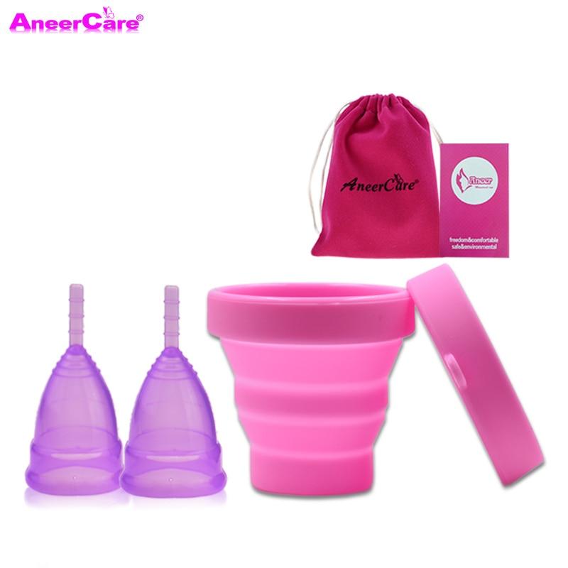 2 Pcs Menstrual Cup Sterilizer Lady Period Cup Copa Menstrual De Silicona Medica Coppetta Mestruale Menstrual Collector