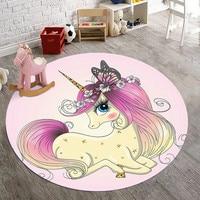 Cartoon Roze Eenhoorn 3D Afdrukken Ronde Tapijten voor Woonkamer Slaapkamer Karpetten Kinderkamer Speelkleed Kind Klimmen Vloer tapijt