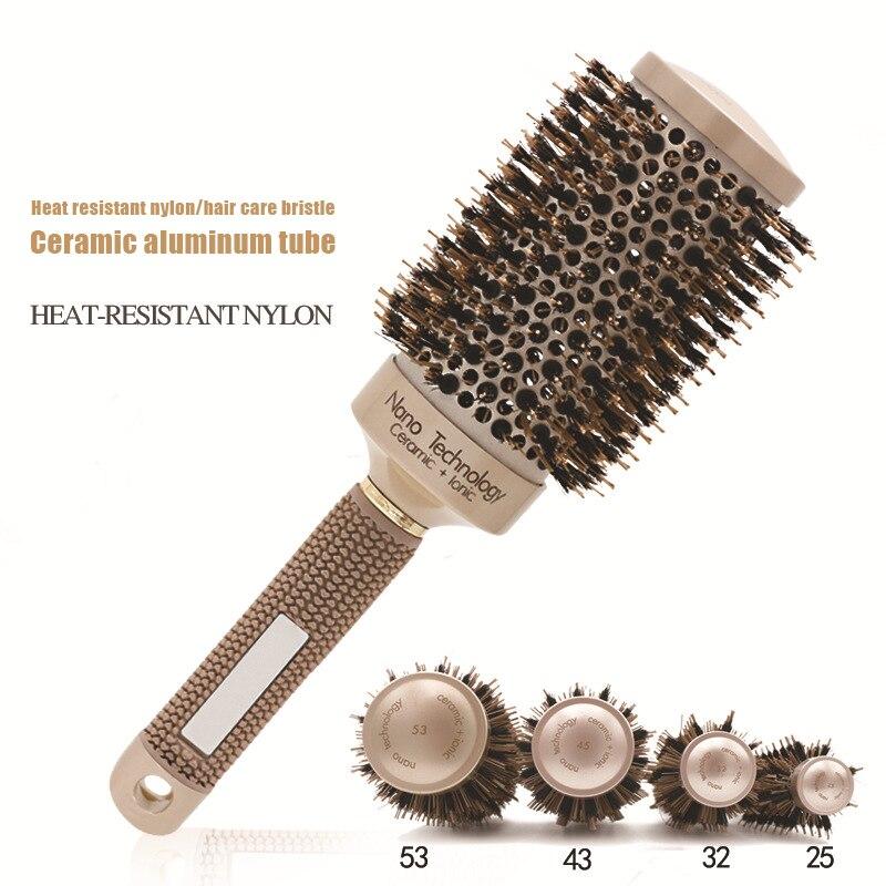Nano Ion Boar Bristle Brush Hair Salon Comb Thermal Conductivity Ceramic Ion Bucket Hair Comb Negative Ion Hair Comb