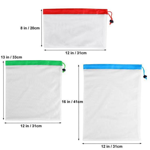 5pcs Reusable Mesh Vegetable Storage Bag Kitchen Fruit Pocket Drawstring Grocery bag Eco Shopping Tote Bag Food Container 2