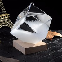 Transparent Ice Cube Storms Glass Snowflake Weather Storms Forecast Predictor Monitor Bottle Barometer Home Decor Figurines|Figurines & Miniatures| |  -