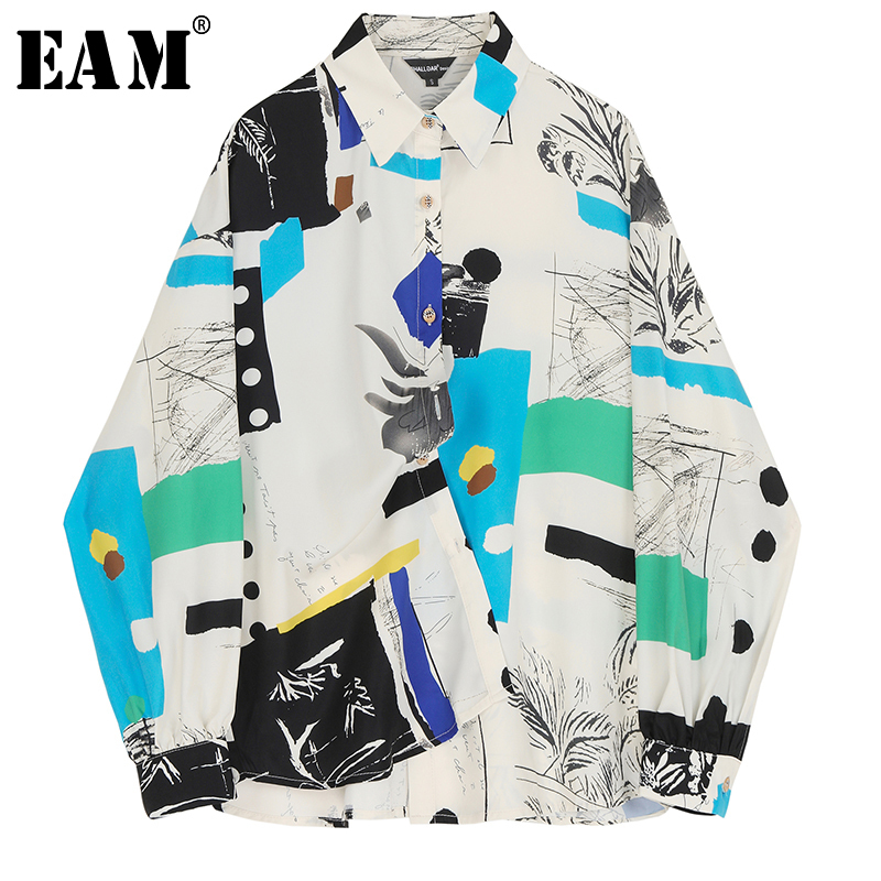 [EAM] Women Pattern Print Split Big Size Blouse New Lapel Long Sleeve Loose Fit Shirt Fashion Tide Spring Autumn 2020 1N878