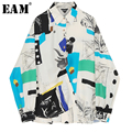 4000594062679 - [EAM] blusa de solapa nueva de talla grande con estampado de patrón dividido de manga larga camisa holgada a la moda marea primavera otoño 2020 1N878