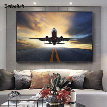 1 Piece Sunset Airplane Landscape Modern Home Decor Pictures For Living Room Posters HD Canvas Oil Paintings