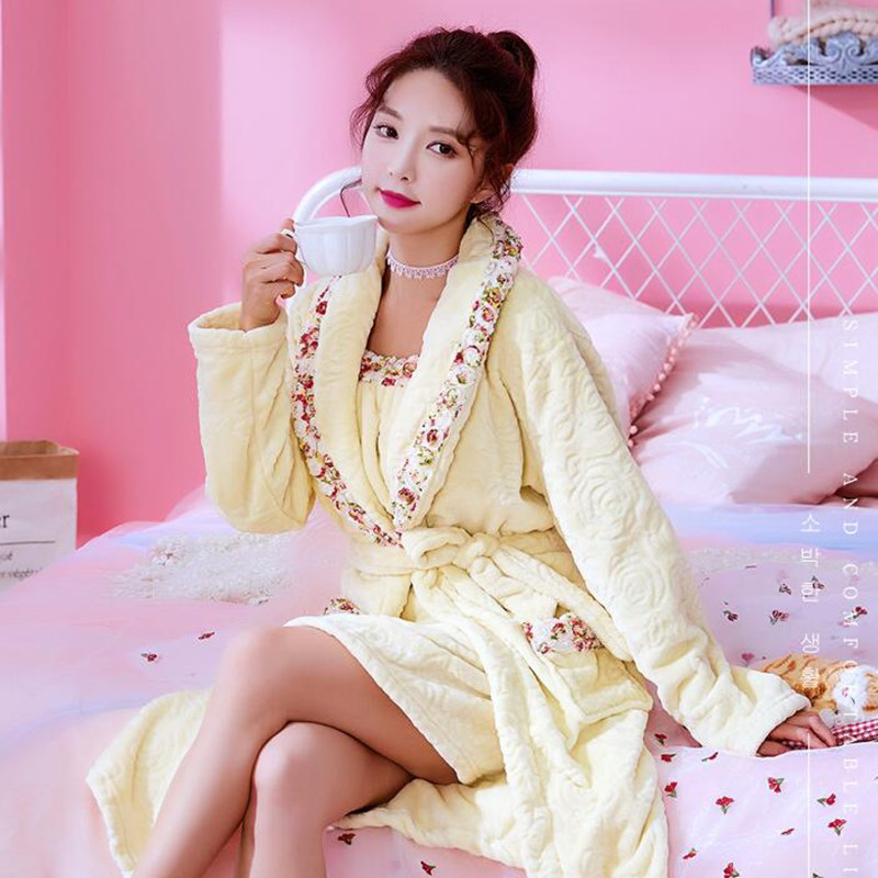Women Gown 2pcs Sleepwear Suit Girls New Autumn Winter Flannel Coral Velvet Housewear Female Warm Thickened Lady Nightgown H5632