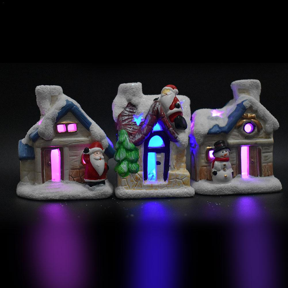 Christmas Scene Village Houses Town With LED Light Holiday Gifts Christmas Decoration For Home Fairy Light Xmas Gift Navidad