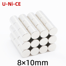 5/20/50 pieces 8mmX10mm strong cylinder rare earth magnet 8X10 neodymium N35 Mini small  magnets 8*10mm