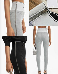 100391 осень зима 2020 женские леггинсы с буквенным логотипом жаккардовые тесьма обтягивающие брюки с высокой талией брюки-карандаш A2