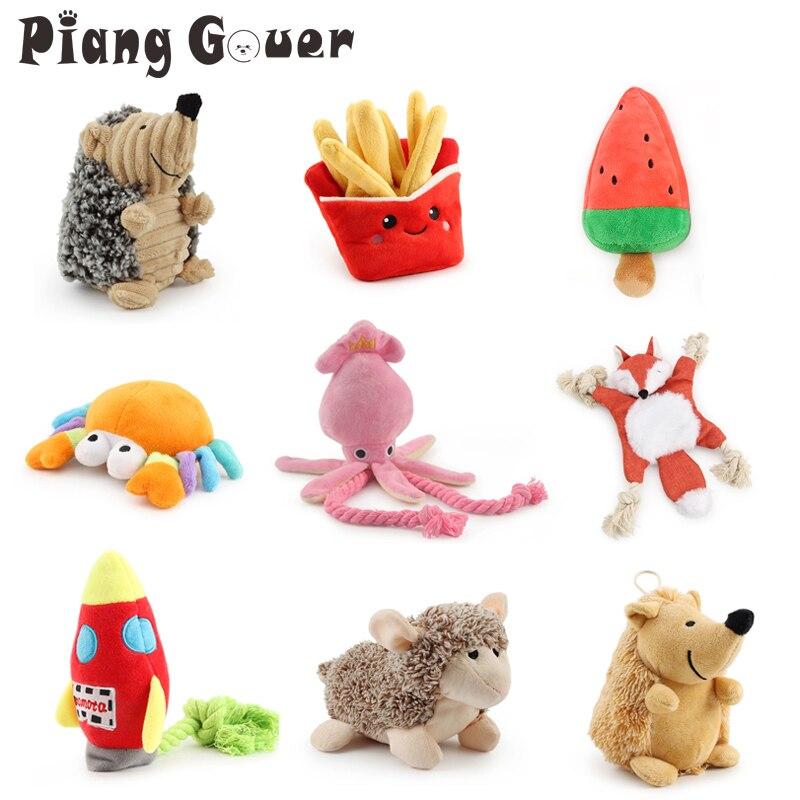 Плюшевая игрушка-кальмар для собак, мягкая плюшевая игрушка для домашних животных, краб, жевательная игрушка для щенка, пресс со звуком, пищащие игрушки для собак, различные игрушки-0