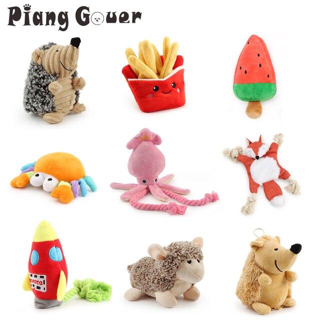 Peluş kalamar köpek oyuncak yumuşak peluş oyuncak hayvan yengeç çiğnemek yavru basın ses Squeak oyuncaklar köpekler için çeşitli oyuncaklar