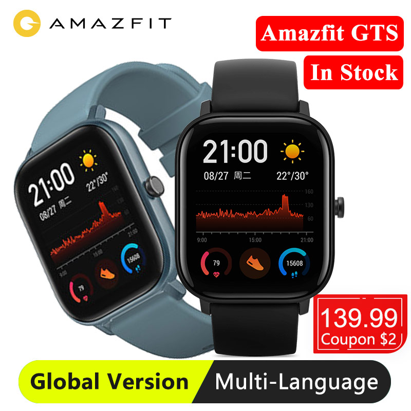 Huami amazfit gts versão global relógio inteligente gps smartwatch sono rastreamento 5atm natação à prova dwaterproof água freqüência cardíaca