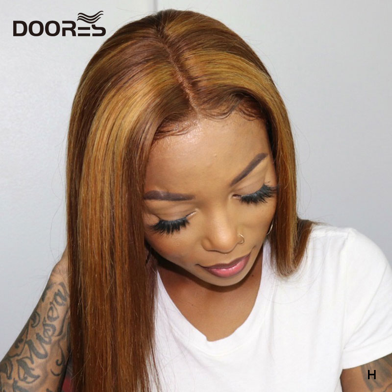 Doores Colored Lace Front Human Hair Wigs Brown And Blonde Highlight Wig Ombre Human Hair Wig 13x4 Straight Lace Front Wig Remy