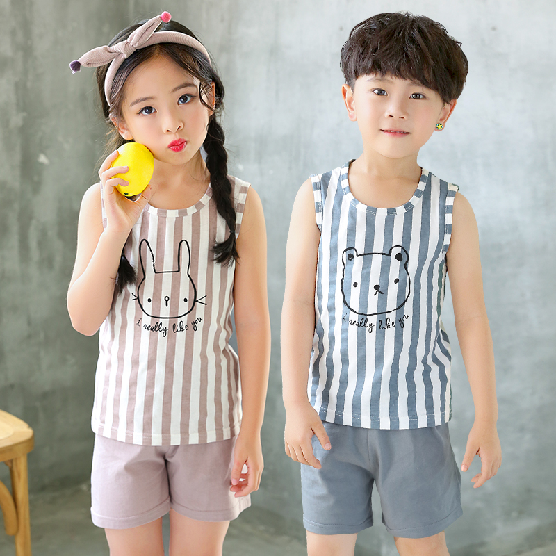 Kids Clothes Summer Children Pajamas Sets Baby Girls Boys Cartoon Sleepwear Cotton Vest+Pants Clothing Suit Toddler Pyjamas Kids 1