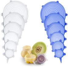 6 шт. пластиковая обертка, силиконовые Эластичные крышки, универсальная силиконовая пищевая обертка, миска, крышка для кастрюли, силиконовая крышка, сковорода, кулинарные кухонные принадлежности