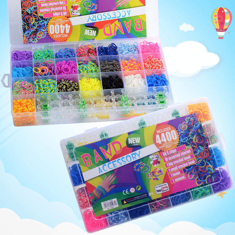 4400 Pieces Rainbow Rubber Bands Weaving Set DIY Toys Loom Craft Kid Bracelet Braid Silicone Elastic Weave Bands Gifts For Girls
