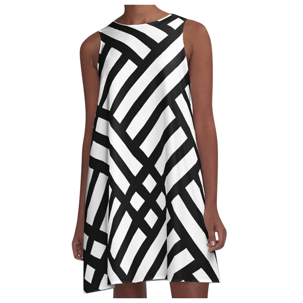 Fashion Striped Geometric Print Women s Dress O Neck Sleeveless Pattern Print A Line Dress Women
