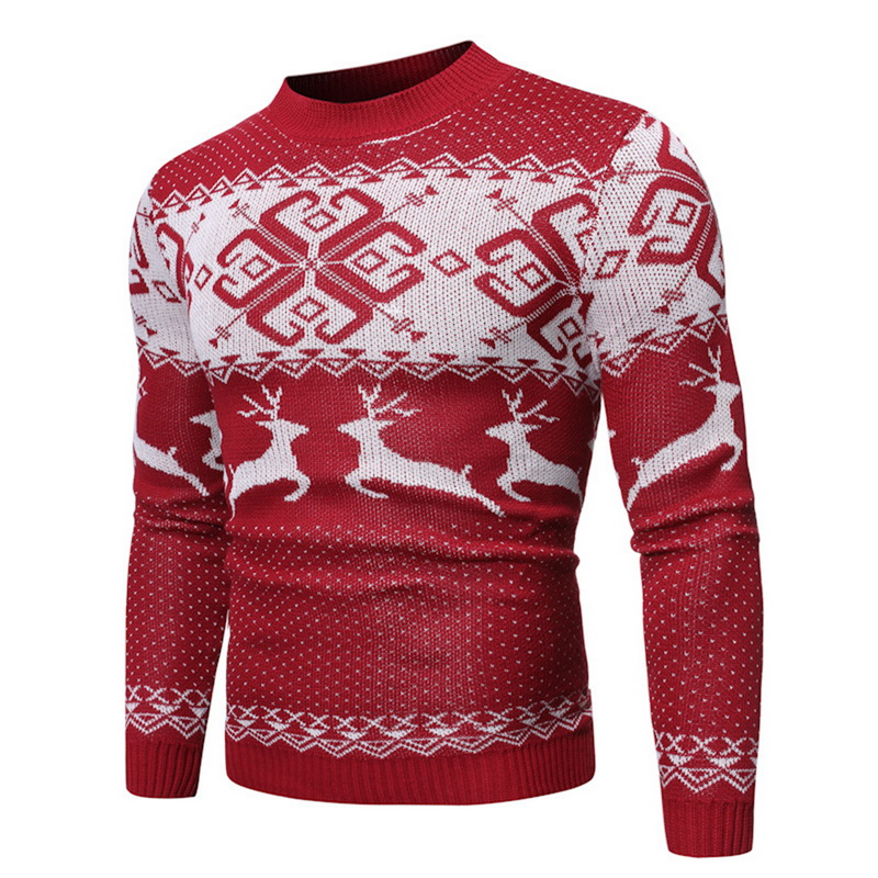 Fashion Autumn Winter Christmas Tops Mens Causal O Neck Sweater 2019 Deer Printed Pullover Male Knitted Jumper Male Clothes