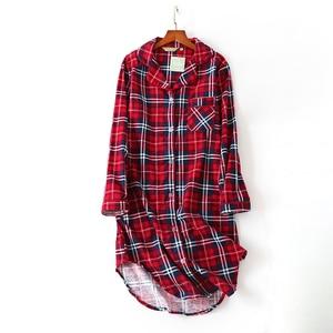 Image 1 - 여성 나이트 셔츠 스트라이프 나이트 드레스 폴카 도트 나이트 가운 슬리핑 셔츠 슬리퍼 코튼 슬리퍼 나이트 가운 슬리퍼