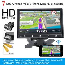 7 Inch HD IPS 1024*600 TFT LCD Color Multifunction Car Headrest Monitor HDMI / VGA AV Wireless Mobile Phone Mirror Link