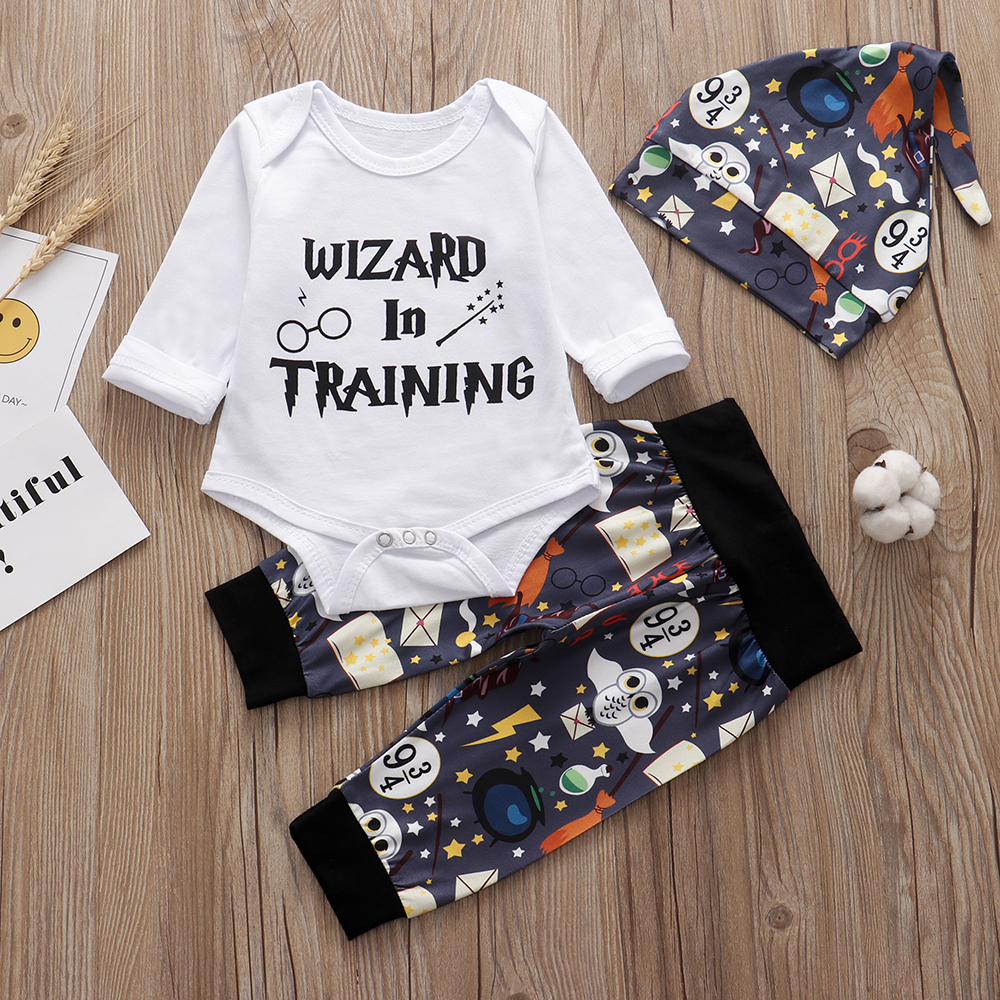 3PCS Sets Newborn Baby Boys Girls Clothes 2019 Summer Little Wizard Arrived Tops T-shirt+Halloween Pants+Hat Infant Baby Outfit