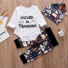 3 pçs define bebê recém-nascido meninos meninas roupas 2021 verão pequeno feiticeiro chegou topos camiseta + calças de halloween chapéu infantil roupa do bebê