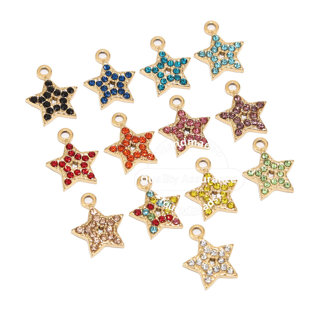 5pcs Stainless Steel Gold Star Charms 13mm Rhinestone Tiny Dangle Pendants Findings for Earring Necklace Making Decoration(China)