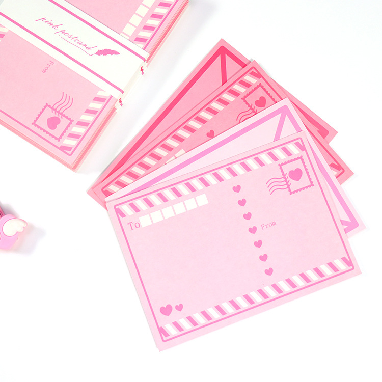 8PCS/LOT Pink Love Creative Paper Card DIY Post Cards Message Gift Card 143mm*103mm