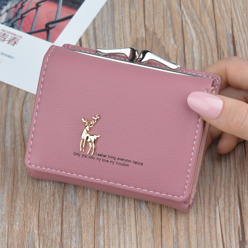 2019 New Cartoon Leather Women Purse Ladies Clutch Wallet Women Short Card Holder Cute Girls Deer Wallet Cartera Mujer Dropship