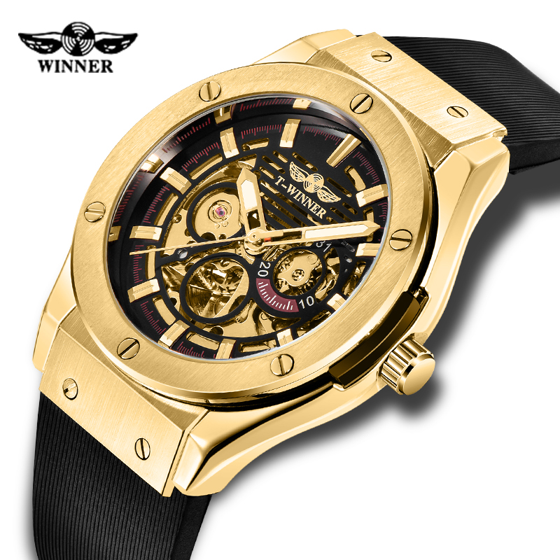 Automatic Mechanical Watch Luminous Steampunk Fashion Big Size Dial Rubber Strap Clock Male Watches for Mens Gifts