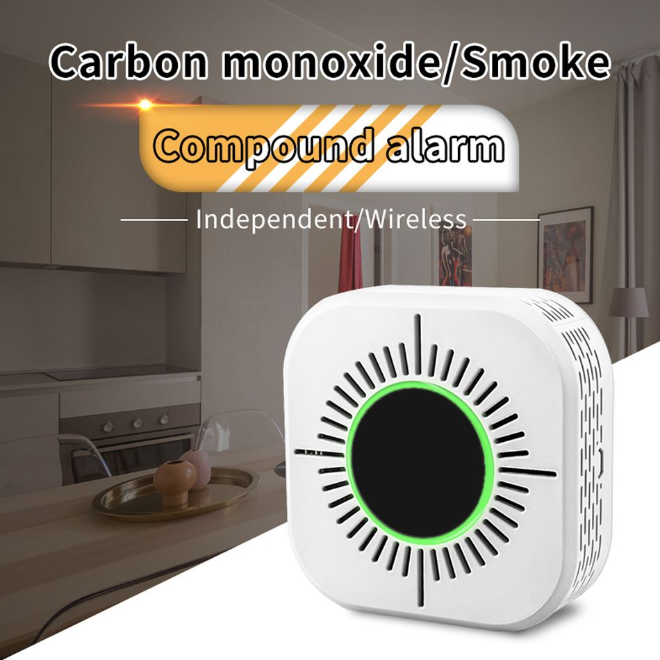 2 IN 1 433MHz Wireless Smart Home Security Smoke Detector Anti-fires CO&Smoke Smart Detection Sensor Multifunction Home Security
