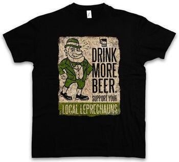 Drink More Beer divertida camiseta irlandés apoya a tu Local Leprechauns Irlanda hombres camisetas de verano de manga corta