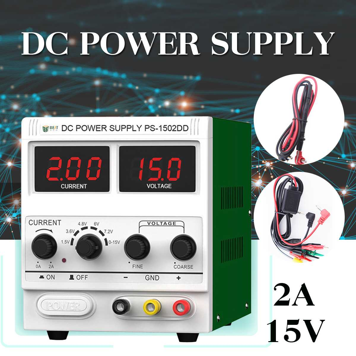 LED Digital Switching DC Power Supply Voltage Regulators Lab Repair Tool Adjustable <font><b>1502D</b></font>+ 110/220V Power Source New image
