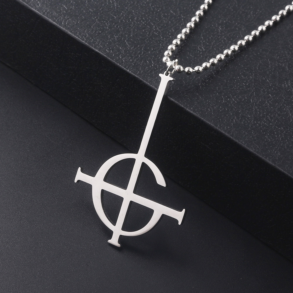 925 Sterling Silver Ghost Band Grucifix Papa Emeritus Nameless Ghoul Pendant