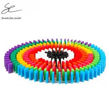 100/300/500 Uds niños Color arcoíris para ordenar bloques de dominó de madera juegos de dominó brillantes temprano juguetes educativos para regalo de chico