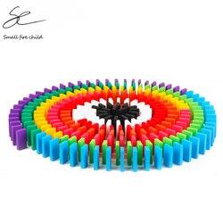 100/300/500 pces crianças cor espécie arco-íris madeira dominó blocos kits cedo brilhante dominó jogos brinquedos educativos para o presente do miúdo