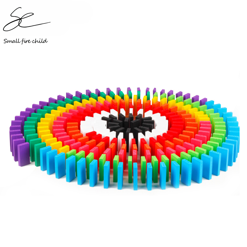 100/300/500pcs Children Color Sort Rainbow Wood Domino Blocks Kits Early Bright Dominoes Games Educational Toys For Kid Gift