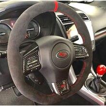 Housse en cuir suédé pour Subaru WRX STI 2015 – 2020, tout noir, couture au volant, rouge