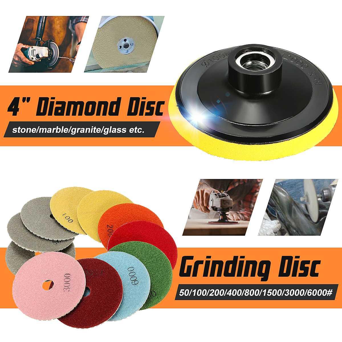 "4/"" 100 mm Diamond Polishing Pad 10+1 Travertine Granite Marble Concrete Glass"