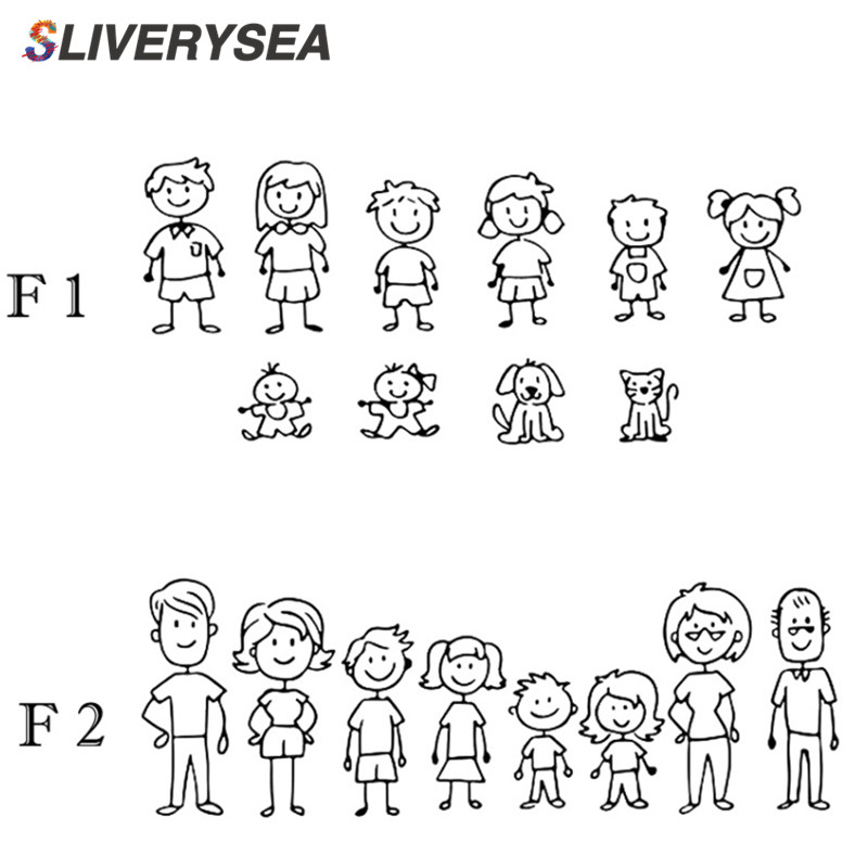 SLIVERYSEA Family Car Stickers Father Mother Daughter Son And Dog Vinyl Car Styling Car Window Sticker And Decal