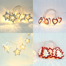 Christmas String Light Wooden Stars Trees LED For Wedding Party Home Decoration Tree Shape D40