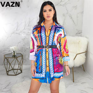 VAZN T-Shirt Dress Button Colors Full-Sleeve Sexy Lady Casual Summer GSMR19325 Fly Chic-Design