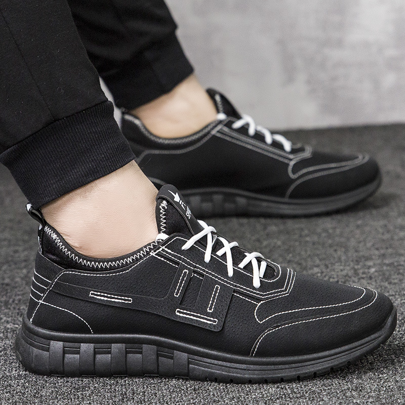 New Style Color Bottom Pigskin Fashion Spiraea Men Athletic Shoes Korean-style Versatile Trend Running Shoes