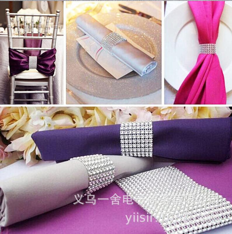 Bling Europe And America 8 Gang Drill Gold And Silver Napkin Buckle Napkin Ring Restaurant Decoration