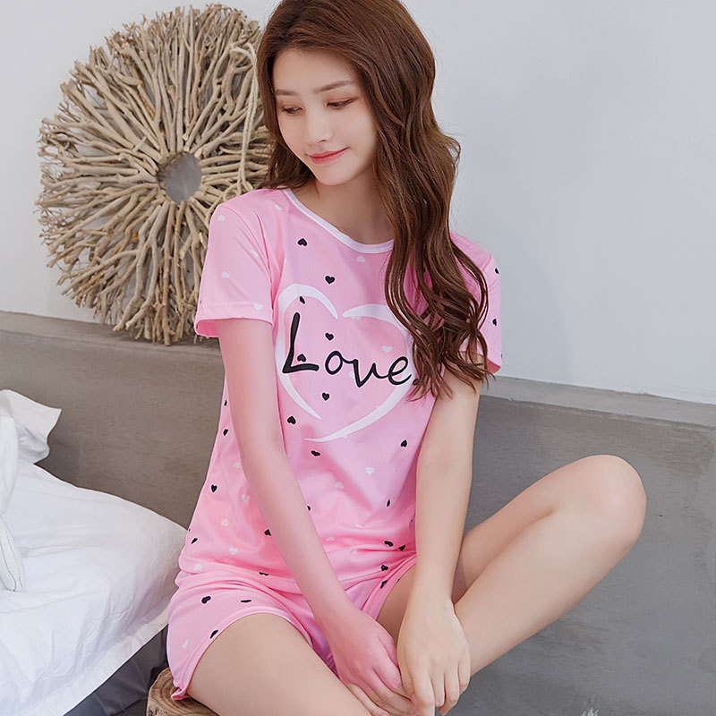 Sweet Cute Pink Pajamas WOMEN'S Short Sleeved Shorts LOVE Peach Heart Women's Tracksuit Casual Two-Piece Set Thin