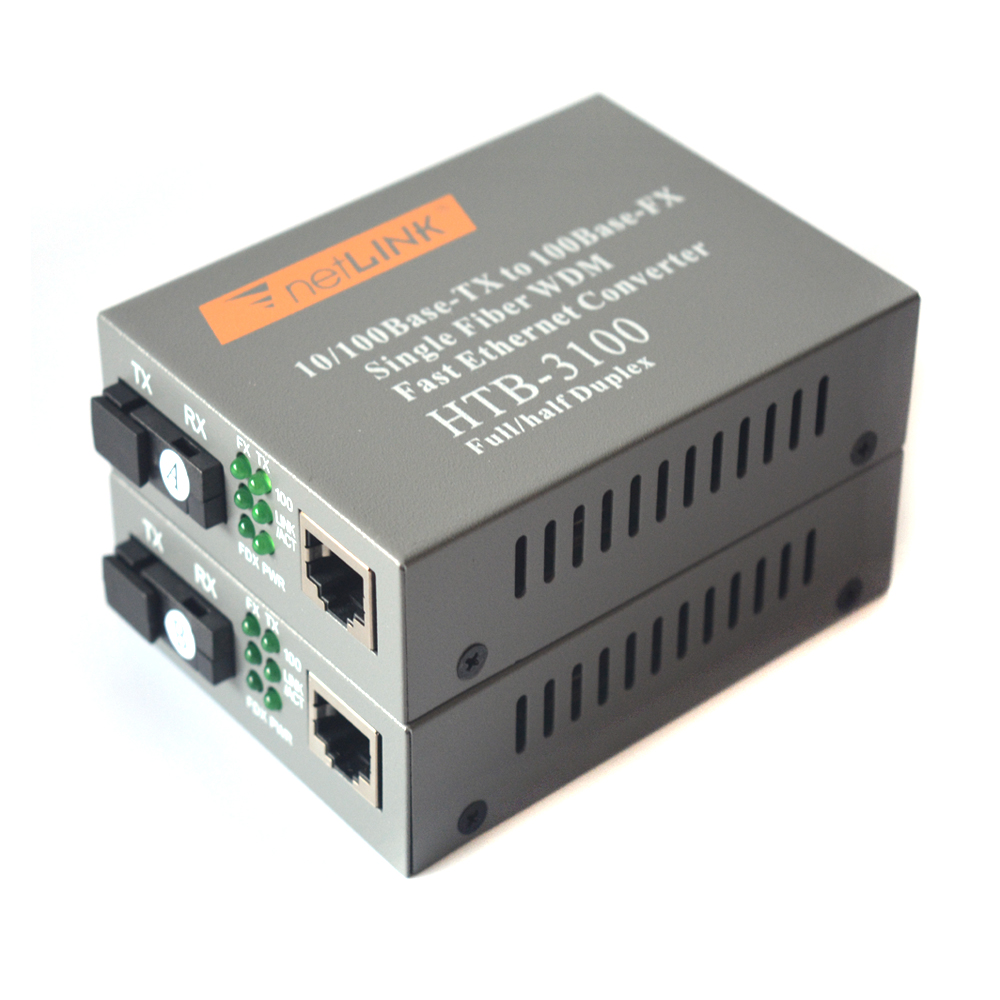 10/100Mbps Bi-Directional Single-mode SC Fiber Fast Ethernet Media Converters - A Pair Of 10/100Base-TX To 100Base-FX Up To 20KM