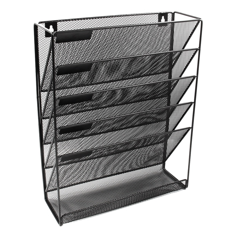 Metal Mesh Wall Mounted Magazine File Rack Office Desk 5 Layer Interval Archive File Magazine Magazine Notebook Storage Black|File Tray| |  - title=