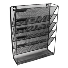 Metal Mesh Wall Mounted Magazine File Rack Office Desk 5 Layer Interval Archive File Magazine Magazine Notebook Storage Black