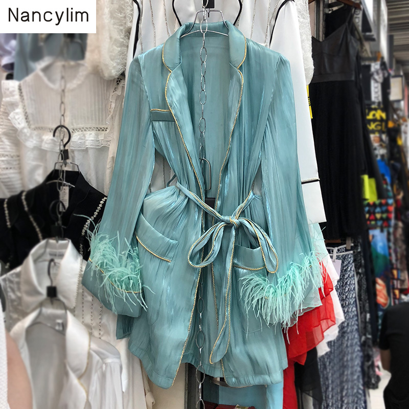 Autumn 2019 New Fashion Long Shirt Woman Long-sleeved Loose Shirts With Feather Belt Waist